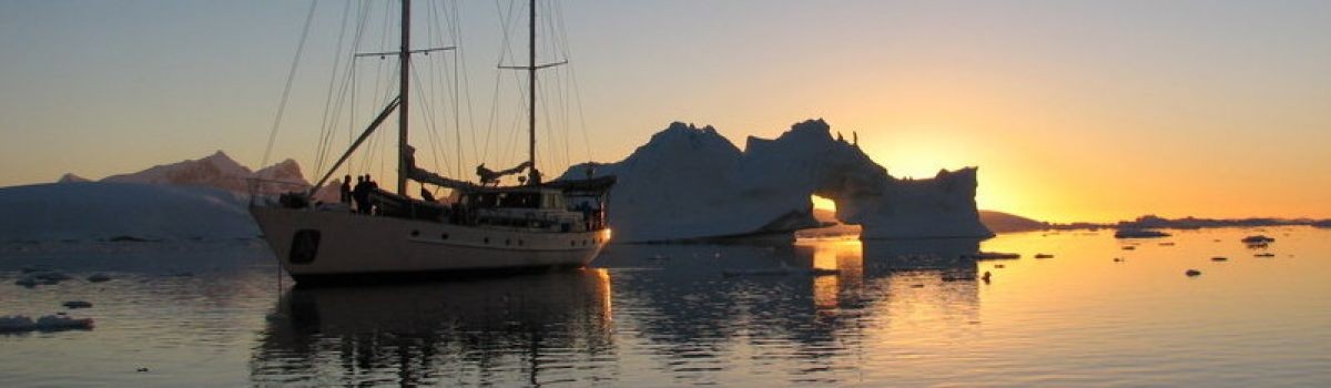 sunset in antarctic peninsula